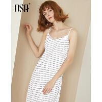 【2.5折到手价:62.3】OSA欧莎2019夏装新款女装性感吊带字母印花连衣裙