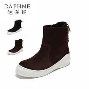Daphne/达芙妮/圆漾休闲牛京绒面保暖加绒运动防滑靴短靴女