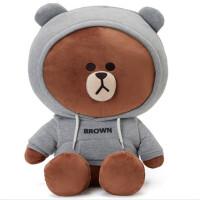 六一儿童节礼物儿童毛绒玩具礼物卫衣布朗熊公仔卫衣抱枕熊可爱送女孩儿童睡觉玩偶儿童毛绒玩具礼物布娃娃 银色 灰色