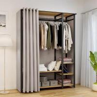 简易衣柜布衣柜全钢架出租屋家用落地组装欧式衣柜公寓开放式衣柜