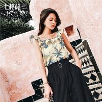 七格格雪纺小衫女设计感2019新款夏装韩版洋气衬衫吊带一字肩上衣