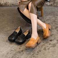 玛菲玛图2021新款单鞋女厚底乐福鞋一脚蹬真皮松糕鞋时尚复古英伦小皮鞋9038-7YMS