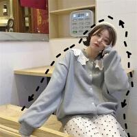 秋装女针织毛衣学生韩版宽松冬装开衫外套2019春秋娃娃领毛线衣潮 均码