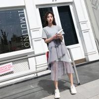 【新品特惠】同色系情侣装夏装2019套装港风新款韩版纯色个性连衣裙子百搭气质