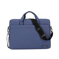 联想华硕笔记本电脑包14寸15.6寸18寸手提单肩斜挎男女防水防震 181加厚版蓝色 15.6英寸