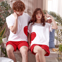 【新品特惠】 情侣睡衣夏季短袖纯棉清新甜美休闲可外穿男女士家居服套装夏天