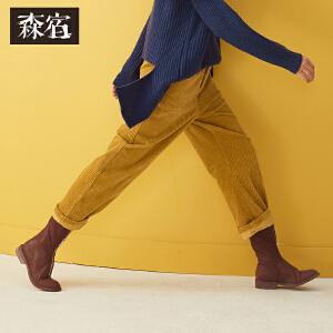 【低至1折起】森宿纯色复古灯芯绒阔腿裤女秋冬季2018新款宽松休闲保暖长裤子