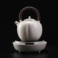 电陶炉煮茶器白泥苏打釉开片陶壶南瓜壶烧水壶陶瓷茶炉养生泡茶壶 +电陶炉