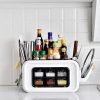 多功能厨房置物架筷子盒神器小工具刀架调料调味用品一体收纳架子 +锅盖架