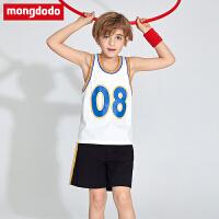巴拉巴拉旗下梦多多童装男童套装2019新款夏装吊带背心短裤2件套