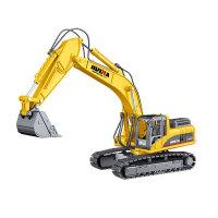 童励挖掘机挖土机玩具汽车模型仿真合金工程车玩具车儿童汽车男孩 挖掘机 黄色