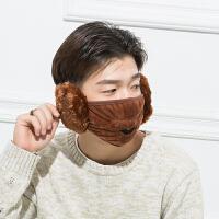 20180825103035330.冬季保暖口罩冬天防寒耳罩可爱骑行时尚韩版男女儿童护耳 深棕色 男款(均码)