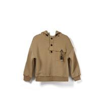 【双12限时购】冬季新款男童纯色胸前口袋套头长袖卫衣加绒