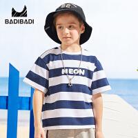 【99选3】巴拉巴拉旗下219夏季新款男童中大童时尚条纹宽松休闲短袖T恤B