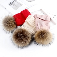 儿童秋冬季毛线帽保暖厚款针织帽毛球帽韩版亲子套头帽