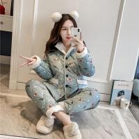 韩版三层夹棉家居服套装加厚保暖两件套宽松珊瑚绒睡衣女冬季新款