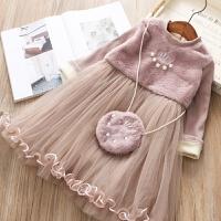 2018冬季童装代 加绒女童连衣裙 韩版女童圣诞装连衣裙