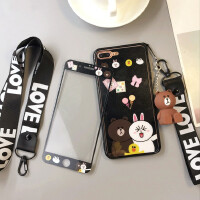 �O果8plus�化膜彩色iPhone6s手�C玻璃7p可妮兔卡通��6plus布朗熊 6p/6sp5.5寸糖糖黑