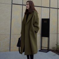 大码女装秋冬装毛呢外套韩版呢子大衣女士显瘦学生中长款外套潮 图片色
