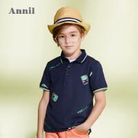 【3件3折】商场同款安奈儿童装男童翻领短袖T恤新款洋气休闲男孩POLO衫4