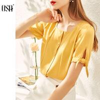 【4折立减价:112】欧莎复古流行方领衬衫女设计感小众衬衣夏2020年新款时尚百搭上衣