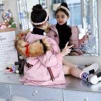 女童冬装棉衣外套2018新款儿童中大童加厚大毛领连帽保暖棉袄