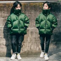 儿童棉衣外套冬季2018新款翻领面包服洋气夹克中大童男孩短款