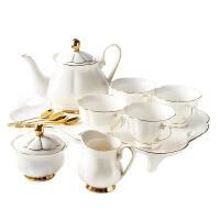 陶瓷咖啡具套�b�W式金�骨瓷咖啡杯茶�夭璞�托�P英式下午茶茶具