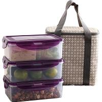 长方形塑料保鲜盒套装带包 微波炉饭盒 杂粮存储盒冰箱收纳盒 PY-1947