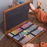 韩国盟友色粉笔72色木盒彩色粉笔颜料彩绘色粉手绘绘画专业画画套装初学者粉彩棒画笔黑板报美术用品工具