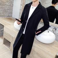 春季新款男士中长款风衣韩版修身潮休闲ulzzang外套翻领薄款披风