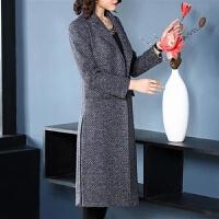 秋冬季韩版女装外套2019长款修身显瘦长袖毛呢大衣女 蓝色