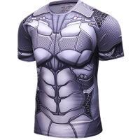 官方旗舰店美国队长人蜘蛛侠钢铁侠运动健身修身短袖T恤骑行速干衣紧身衣 蝙蝠侠银色 T恤
