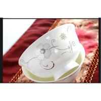 正宗景德镇中式骨瓷花卉单碗花语雪莲高脚饭碗陶瓷盘碗蝶餐具