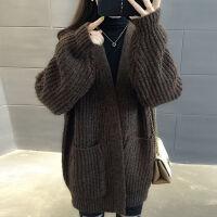 很仙的毛衣开衫外套女2019秋冬中长款加厚韩版宽松慵懒风针织开衫
