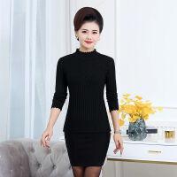 妈妈装毛衣女冬季针织打底衫40-50岁半高领中老年黑色毛衣女