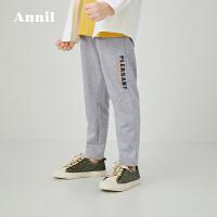 【活动价:143.4】安奈儿童装男童针织单裤2020春季新款学生休闲长裤子轻薄透气潮裤