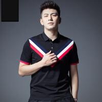 polo衫男短袖2019新款个性撞色罗纹拼接潮牌休闲男士翻领T恤 黑色