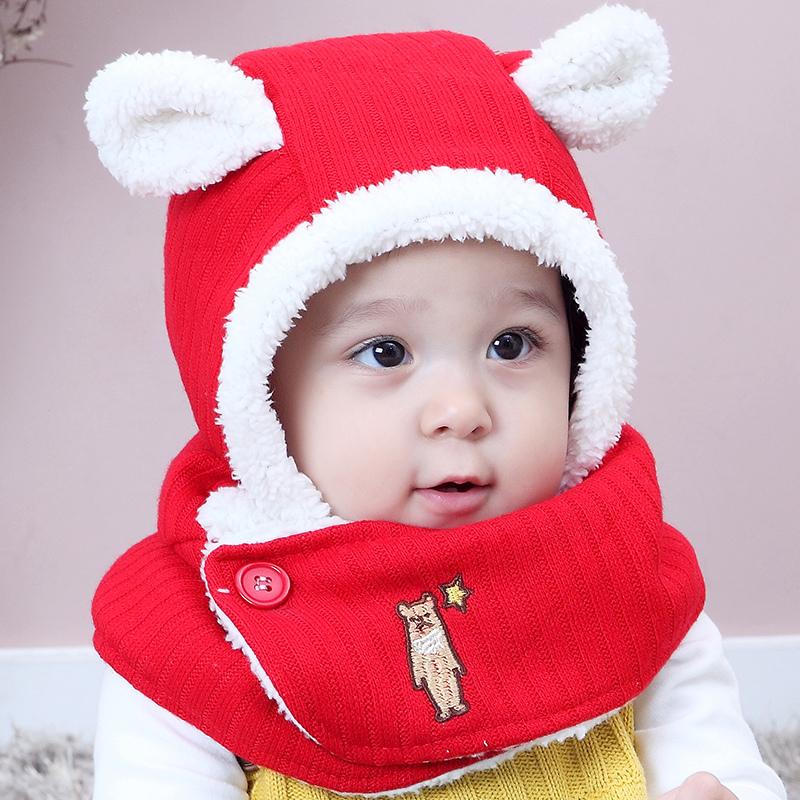 儿童帽子护耳帽秋冬季宝宝围巾围脖一体婴儿帽男孩女孩