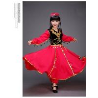 新款儿童新疆舞蹈服装少儿维族表演服民族演出服饰男女童维吾尔族 红色连体长袖带裤子 送帽子