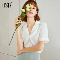 【2件3折价:72.1】欧莎白色雪纺衬衫女2019新款夏宽松显瘦洋气小衫气质半袖上衣