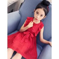 女童背心裙连衣裙夏装2019新款童装中大童洋气公主裙儿童雪纺裙子 红色