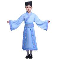 儿童古装汉服幼儿园小书童国学服弟子规三字经书生演出服装男女童 蓝色(送帽子+腰封)