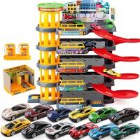模型场景轨道消防工程赛车卡车男孩儿童停车场玩具汽车套装