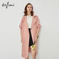 伊芙丽风衣2020新款长款新款春装韩版休闲宽松粉色女士大衣外套