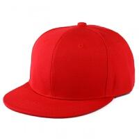 韩国版原宿纯色平沿嘻哈棒球帽子 光板街舞帽 DIY多色滑板潮 红色 可调节