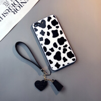 钢化玻璃奶牛款iphone8 plus手机壳苹果6s挂绳7个性XR女Xs max潮六七八套