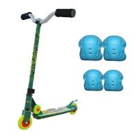 忍者神龟滑板车2-4岁3岁6岁划板车踏板车两轮儿童脚踏车单脚男孩 +护具