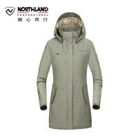 诺诗兰户外女士防水透湿防风保暖中长款旅行冲锋衣GS062622