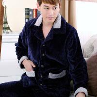 男士睡衣秋冬款加厚加绒珊瑚绒睡衣男青中年爸爸法兰绒冬季冬天装